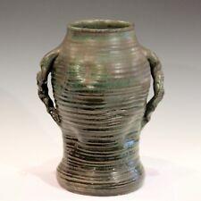 Large Japanese Style Vintage Studio Pottery Arts & Crafts Vase Ribs Crystalline