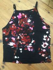 Miss Selfridge  Black Floral Strappy  T-shirt Size 6