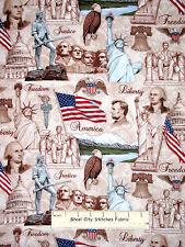 Patriotic Mount Rushmore Lincoln Liberty Flag Cotton Fabric RJR Pride Glory YARD