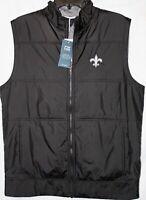 New Orleans Saints Stealth Full Zip Men's Vest, Cutter & Buck, Black, MCC00008