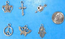 6pcs Tibet Silver Pendants LOT #13 Mixed Crafts Jewelry Making Charms