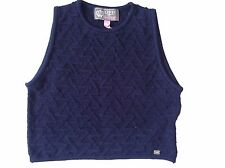 Lipsy Crop Top Knit Vest Navy Size 14