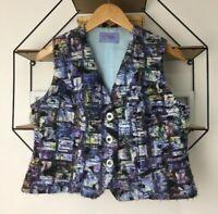 Quirky Textured Multi-coloured Artsy Fluffy Waistcoat Size Medium 10 12