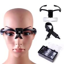 NEW Headband Headset LED Head Light Magnifier Magnifying Glass Loupe + 5-Lens WA