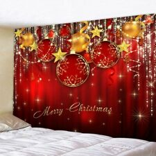 Christmas Tree Window Curtain Red Background Living Room Bedroom Window Drapes