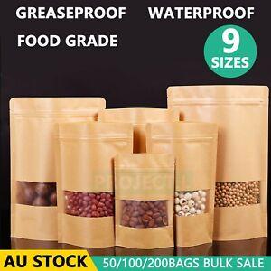 Kraft Paper Bags Stand Up Zip Zipper Lock Resealable Window Pouches Heat Seal Au