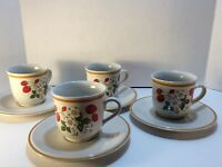 Strawberries N' Cream Stoneware by Sheffield 4 Footed Coffee Mugs & 4 Saucers