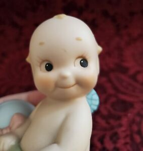 VTG 1992 Jesco/O'Neill All Bisque Kewpie Baby Figurine Holding Rattle Adorable