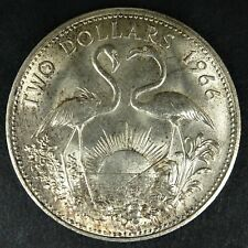 1966 $2 Bahamas Coin Elizabeth II Flamingos Toned Silver .925 UNC  RG503