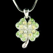 Irish Four Leaf Clover made with Swarovski Crystal Shamrock St Patricks Necklace