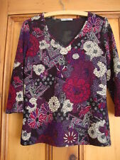 MARKS & SPENCER. PURPLE MIX STRETCHY TUNIC TOP. SIZE 8.