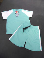 BNWT Boys Size 1 Cute Pale Mint and White Stretch Sports Tee Shirt & Shorts Set