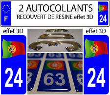 2 adesivi per targa auto EFFETTO DOMING 3D RESINA FIOCCO FAGNON PORTOGALLO 24