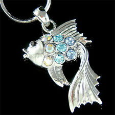 w Swarovski Crystal Blue Tropical ~Bettas Siamese Fighting Fish Necklace Jewelry