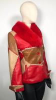Shasa Vera Pelle Vintage Patchwork Red Fur Jacket sz 44