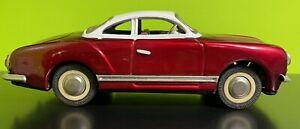 Vintage Tin Toy Friction Car Karmann Ghia Sedan Red MF743