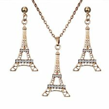 18K Gold Plated Crystal Tower Ring Earrings Necklace Set Women Jewelry Gift Hot