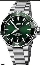Oris AQUIS Green  MENS Steel  39.5m  DIVERS WATCH RRP $3250  SELLING in AUST