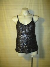 Black Brown GUESS sequin party evening cami TOP Size S (8-10)