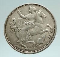 1960 GREECE King PAUL I Silver 20 Drachmai Coin SELENE DIANA MOON GODDESS i76976