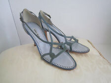 Manolo Blahnik Blue Patent Leather Strappy High Heel Sandals Size 38.5