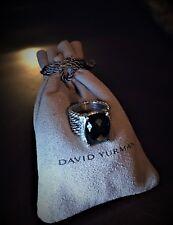$775 David Yurman Wheaton Ring with 16x12mm Black Onyx Stone & Diamonds Size 6.2