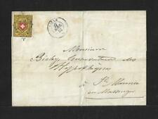 SWITZERLAND F/L #8 IMPERFORATED ON COVER AIGLE CANCEL 1852