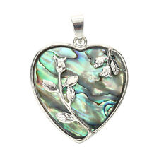 Heart Metal Abalone Paua Shell Flower Pendant Bead 1.3""