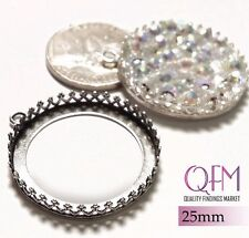 2pcs 25mm Round Bezel Cup Sterling Silver 925 Jewelry Base Shiny or Antique