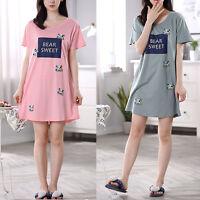 Cute Ladies Women Summer Short Sleeve Nightgown Sleepwear Pajamas Dress Cartoon