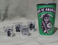 Sons of Anarchy Shot Glasses *4 Glass Shot Glasses plus1 Plastic Collectible Cup