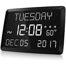 "Digital Clock, Raynic 11.5"" Large Led Word Display Dimmable Digital Wall Clock"
