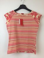 N194 Elle Women's Peach Pink Floral Stripe Top T-Shirt Size M New With Tags