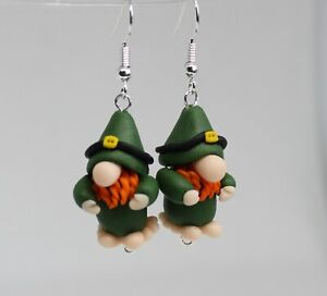 Fun Handmade Fimo St Patrick's day Gonk Gnome Leprechaun Earrings Gifts