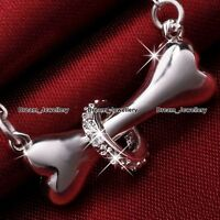 Dog Puppy Bone Necklace Silver Animal Charm Pendant Jewelry Gifts for Her Girl