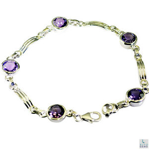 Strahlungs Amethyst Silber lila Armband jaipur l-7.5in de