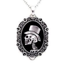 Skull Cameo Necklace Gentleman Skeleton Pendant Stainless Steel Jewelry Controse