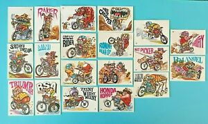 Lot of 19 Vintage 1972 Donruss Silly Cycles Trading Cards - Used Condition