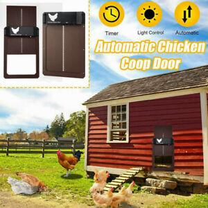 Automatic Chicken Coop Door Opener Timer Light Sensor Household Farm Breeding US