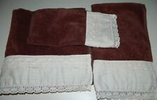 The Avanti Look 3 Piece Brown Towel Set 100% Cotton Lace Eyelet - Bath Hand Face