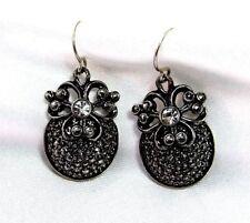 Silver Plate Rhinestone Venetian Pierced Earrings Barrera For Avon