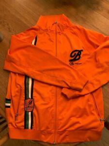 BKLYN XPRESS Mens Orange Green Black Logo Track Jacket Size Large