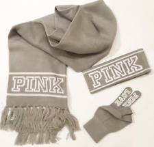VICTORIA'S SECRET PINK LOGO KNIT SCARF HEADBAND & GLOVES GIFT SET GRAY WHITE NEW