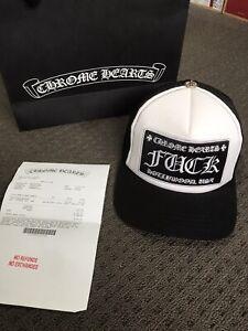 CHROME HEARTS TRUCKER HAT F**K, black/white
