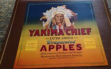 Yakima Chief Vintage Apple Crate Label Lg. Size Washington Native American Chief
