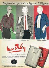E- Publicité Advertising 1958 Pret à porter chemise pour homme Mac Orley