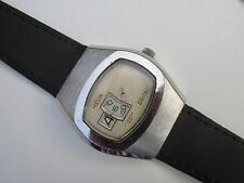 Vintage Men's HUDSON Hand Winding 17 Jewels Jump Hour Digital Watch Swiss