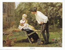 """""""A Garden Romance"""" Mary Ellen Staples Gardening Wheelbarrow Victorian Art Print"""