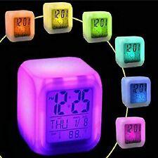 7 Color LED Change Digital Glowing Alarm Clock Night Light for Bedroom Gift 2019