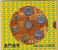 MACAO MACAU - 7 DIF COINS SET: 0,10 - 10 PATACAS BIMETAL DIF YEARS IN FOLDER